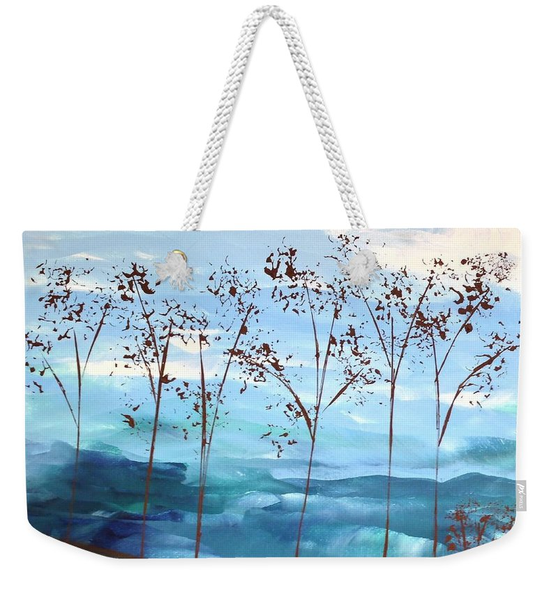 Sky Weekender Tote Bag featuring the painting Light Breeze by Linda Bailey