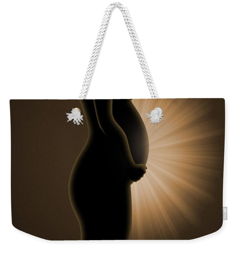 Pregnant Weekender Tote Bag featuring the digital art Light by Carlos Vieira