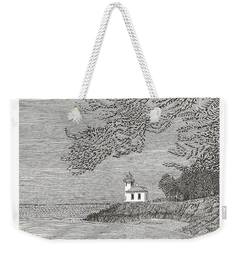 San Juan Islands Lime Point Lighthouse Weekender Tote Bag featuring the drawing Light House On San Juan Island Lime Point Lighthouse by Jack Pumphrey