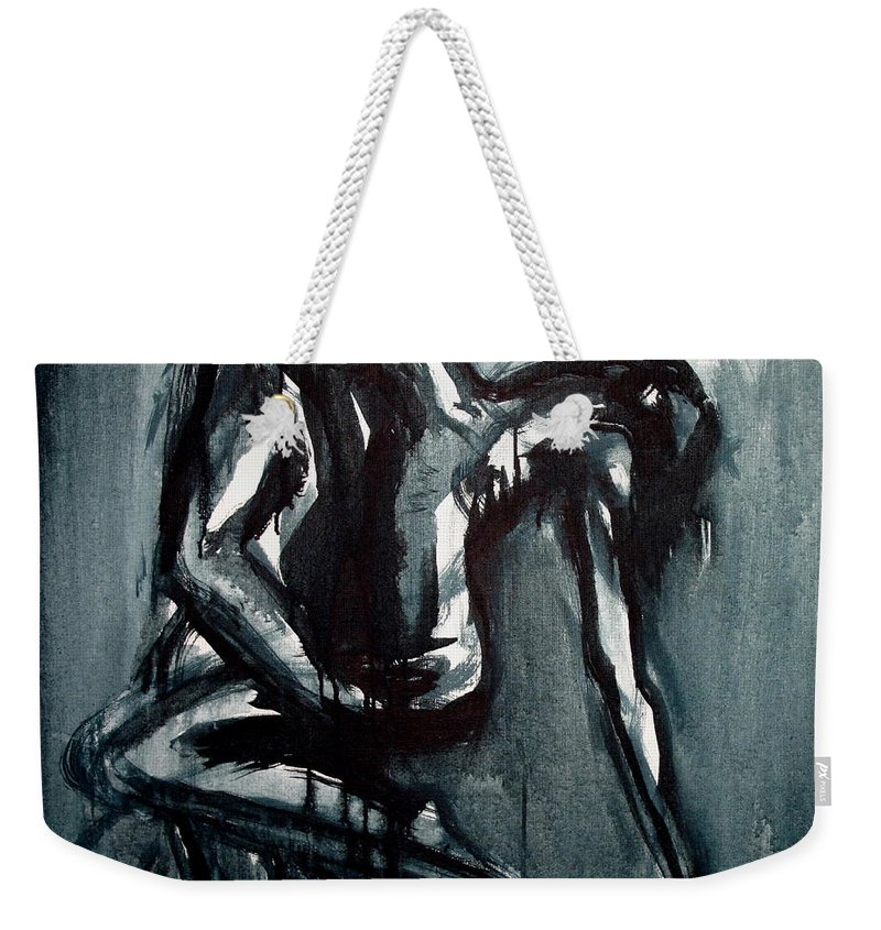 Beautiful Weekender Tote Bag featuring the painting Light In The Darkness by Jarmo Korhonen aka Jarko
