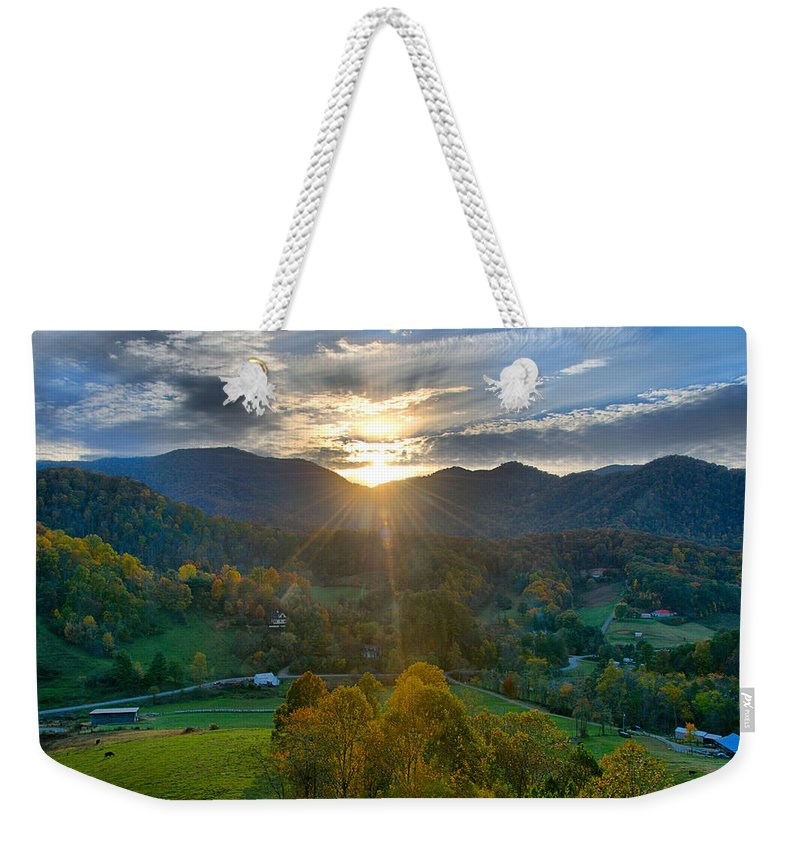 Hill Weekender Tote Bag featuring the photograph Light In The Valley by Lynn Bauer
