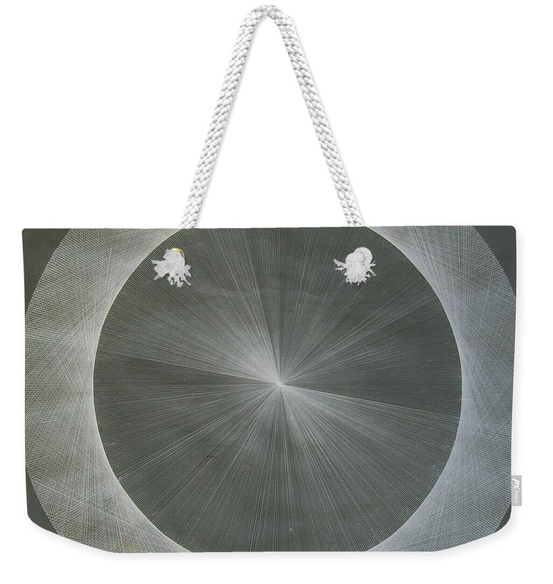 Light Weekender Tote Bag featuring the drawing Light is Pi The shape of Pi by Jason Padgett