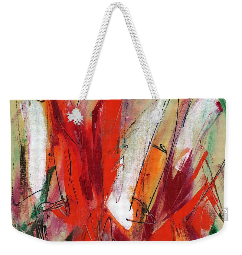 Abstract Weekender Tote Bag featuring the painting Light My Fire by Lynne Taetzsch