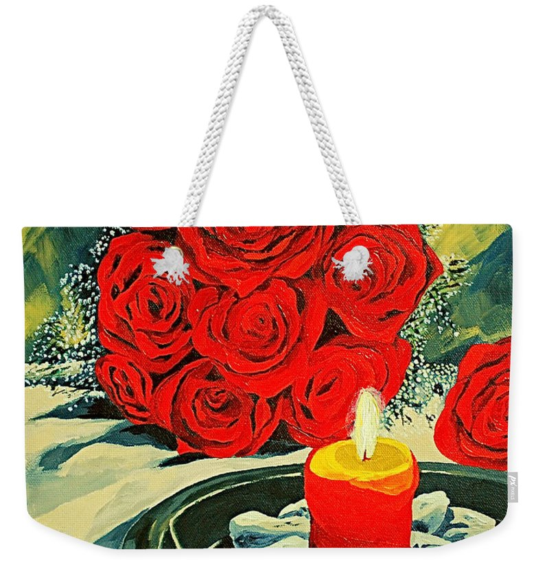 Roses Red Rose Candle Love Deep Red Rose Weekender Tote Bag featuring the painting Light Of Love by Herschel Fall