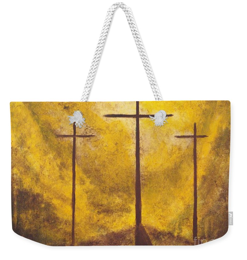 Abstract Painting Weekender Tote Bag featuring the painting Light Of Salvation by Wayne Cantrell