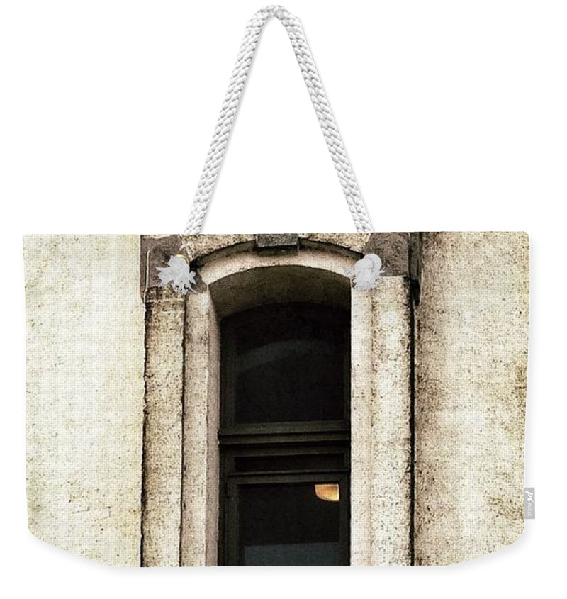Window Weekender Tote Bag featuring the photograph Light On In Lighthouse Window by Susan Garren