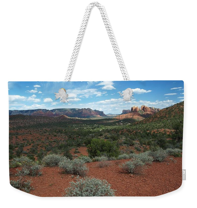 Arizona Weekender Tote Bag featuring the photograph Light Shines On Cathedral Rock by Steve Ondrus