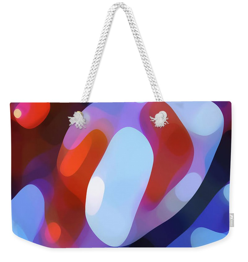 Abstract Weekender Tote Bag featuring the painting Light Through Fall Leaves by Amy Vangsgard