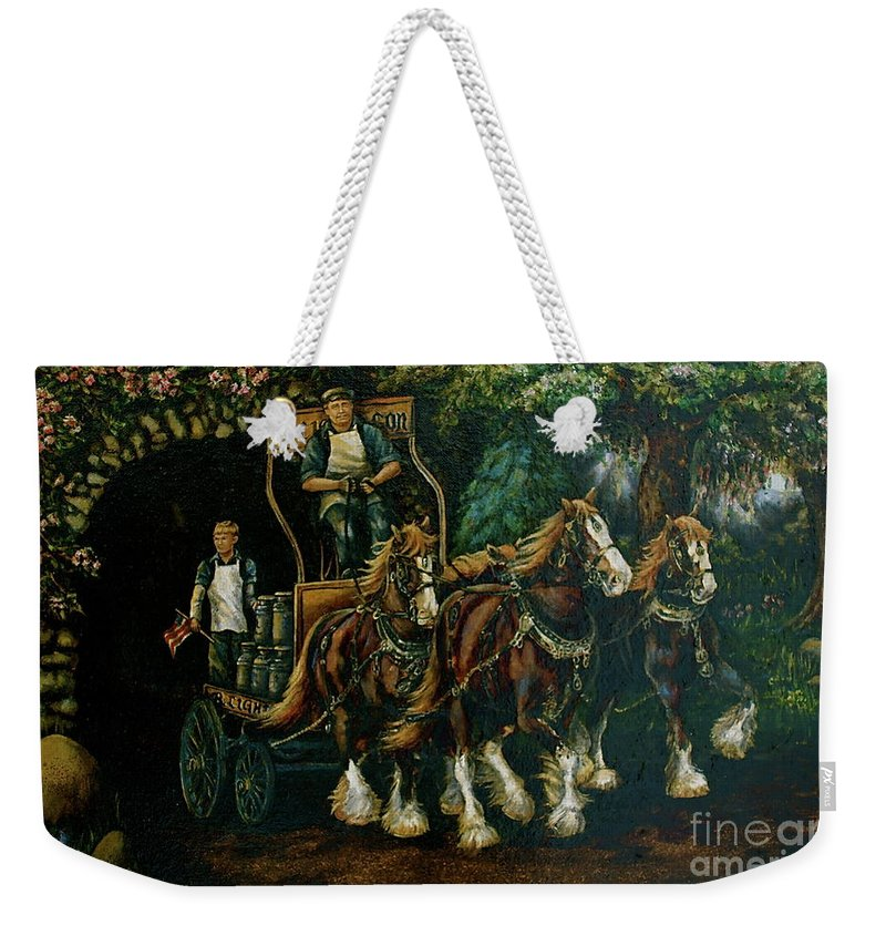 Weekender Tote Bag featuring the painting Light Touch by Linda Simon