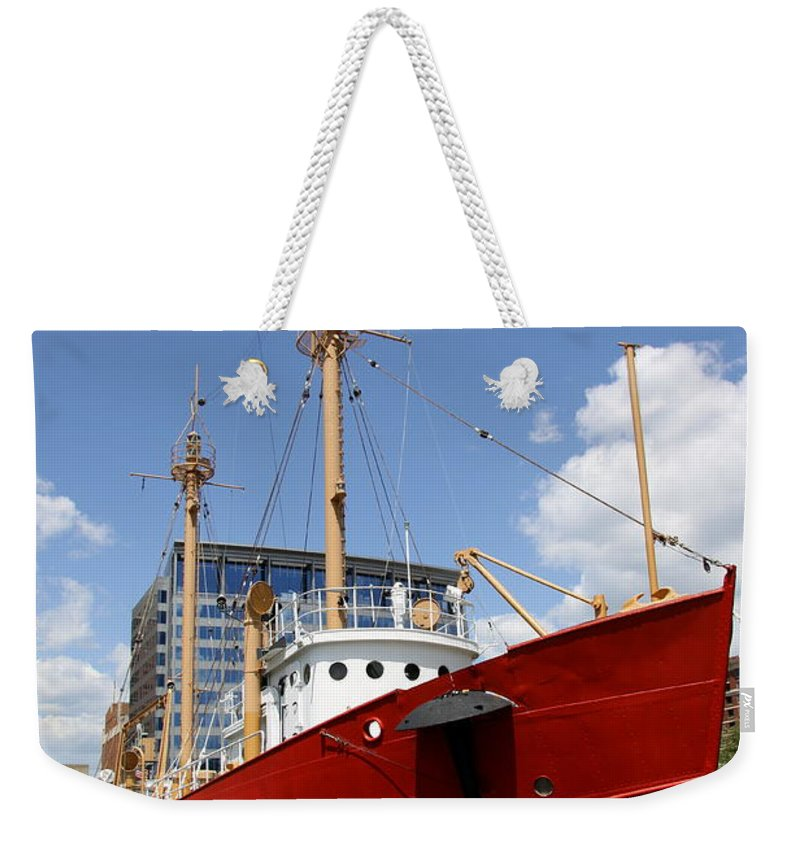 Light Vessel Weekender Tote Bag featuring the photograph Light Vessel Baltimore Harbor by Christiane Schulze Art And Photography