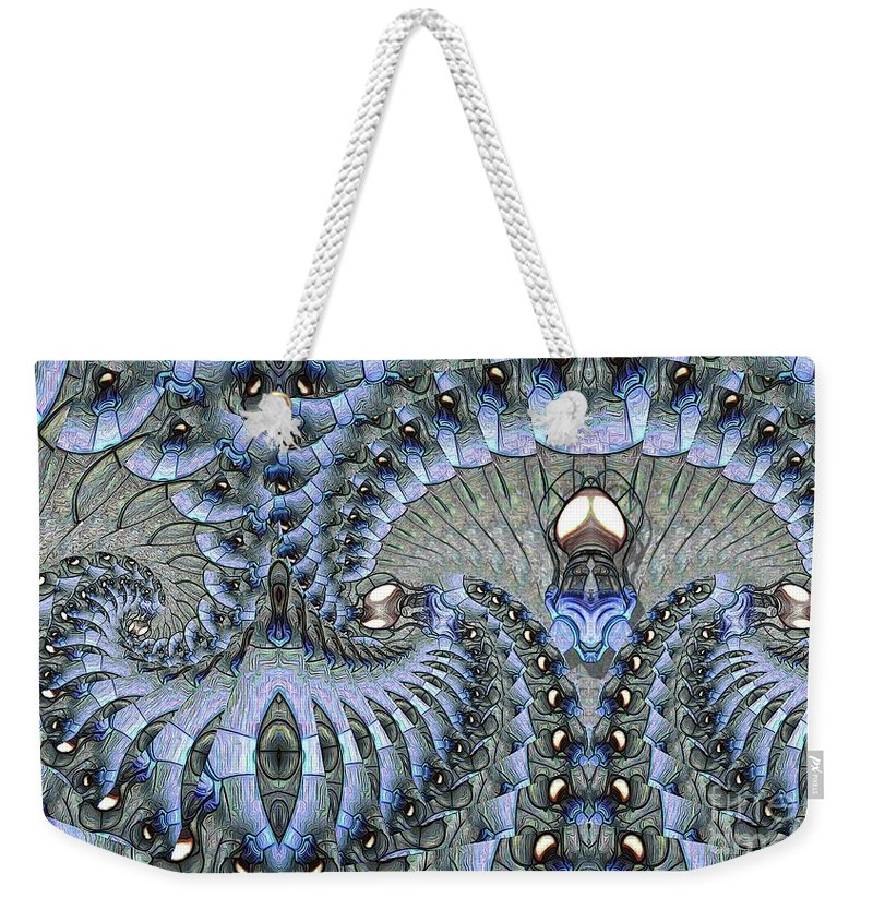 Abstract Weekender Tote Bag featuring the digital art Lighted Cavern by Ron Bissett