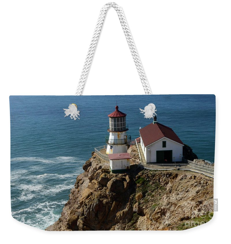 Peace Weekender Tote Bag featuring the photograph Lighthouse At Point Reyes by Bob Christopher