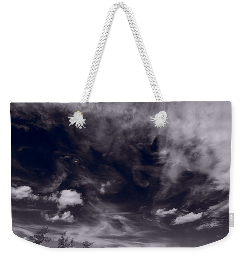 Sky Weekender Tote Bag featuring the photograph Lighthouse Beach Dunes Bw by Steve Gadomski