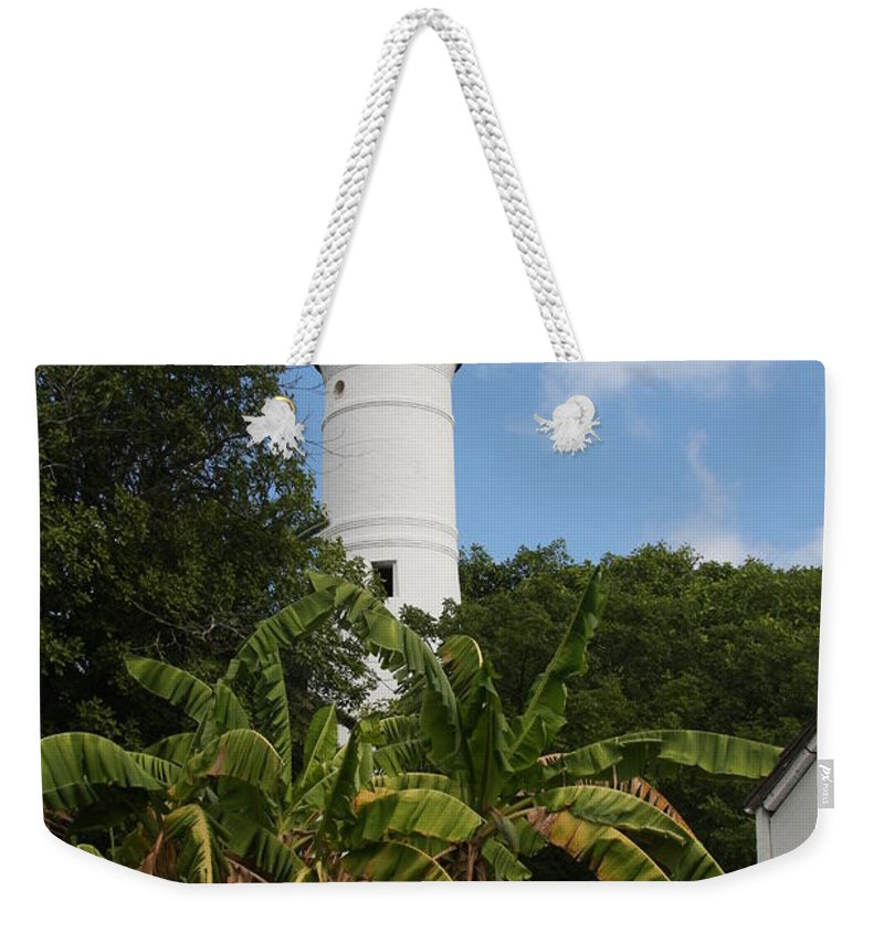 Ligthouse Weekender Tote Bag featuring the photograph A Sailoirs Guide On The Florida Keys by Christiane Schulze Art And Photography