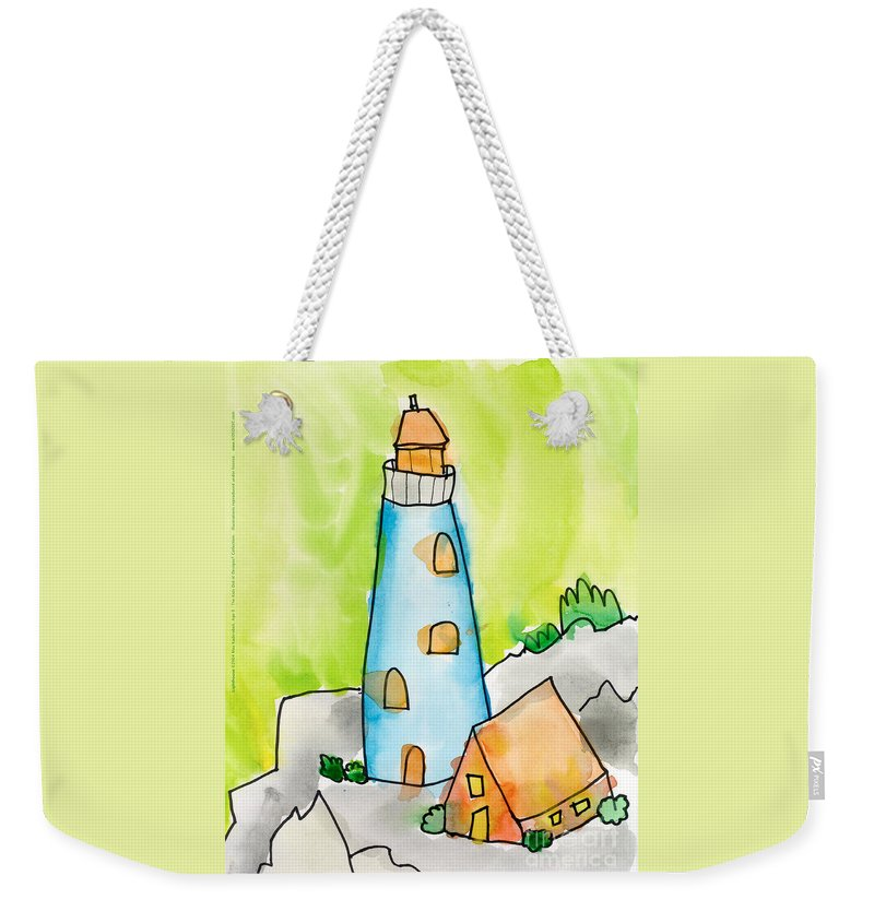 Lighthouse Weekender Tote Bag featuring the painting Lighthouse by Max Kederabek Age Nine