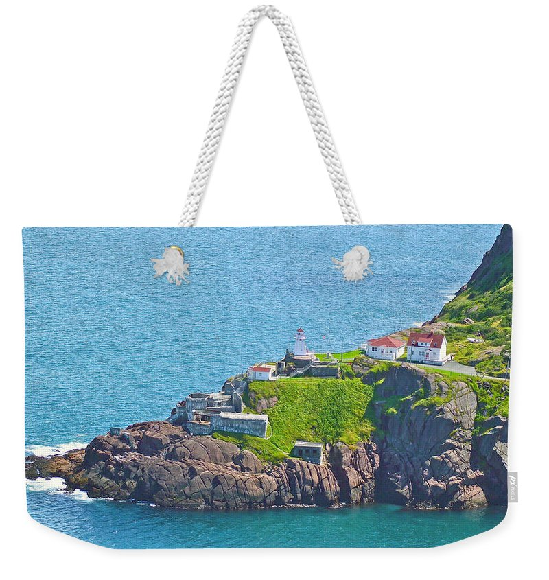Lighthouse On Point In Signal Hill National Historic Site In Saint John's Weekender Tote Bag featuring the photograph Lighthouse On Point In Signal Hill National Historic Site In Saint John's-nl by Ruth Hager