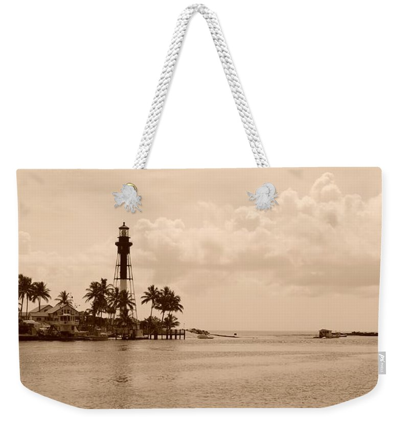 Sepia Weekender Tote Bag featuring the photograph Lighthouse Point by Rob Hans