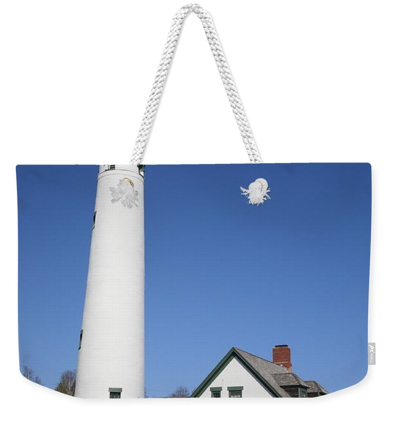 America Weekender Tote Bag featuring the photograph Lighthouse - Presque Isle Michigan by Frank Romeo