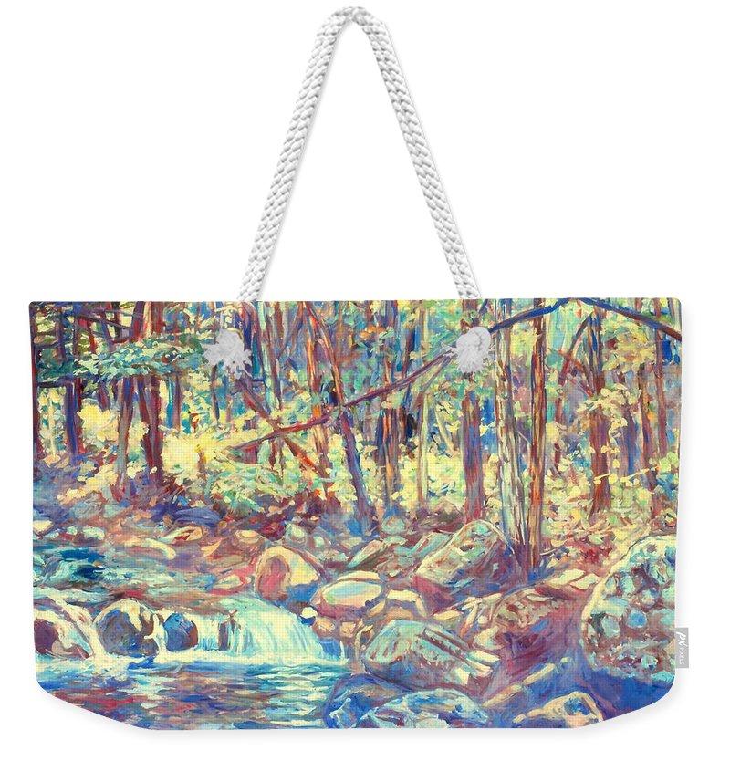 Creeks Weekender Tote Bag featuring the painting Lighting The Creek by Kendall Kessler