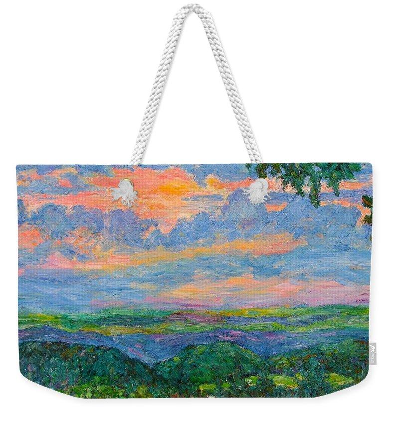 Mountains Weekender Tote Bag featuring the painting Lighting The Ridge by Kendall Kessler