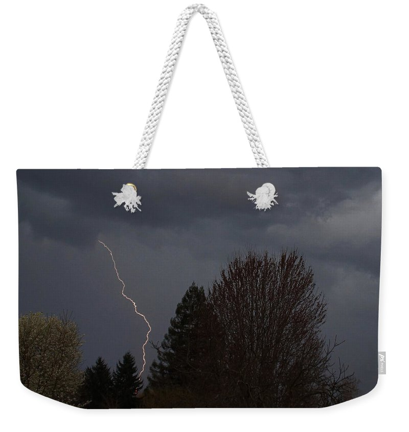 Grants Pass Weekender Tote Bag featuring the photograph Lightning Over Grants Pass by Mick Anderson