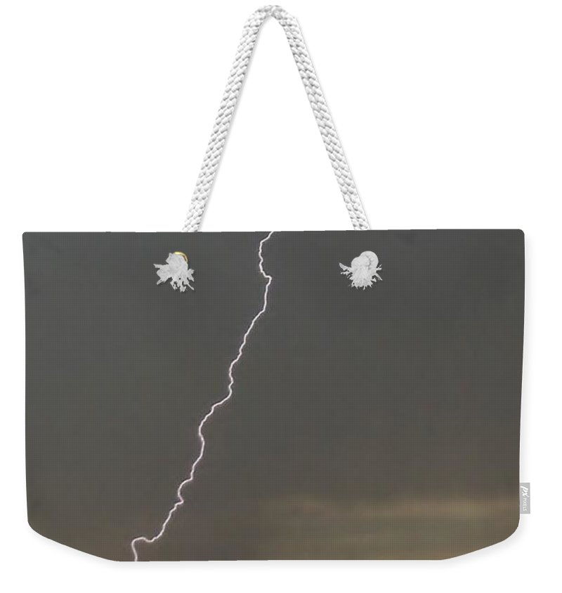 Lightning Weekender Tote Bag featuring the photograph Lightning Strike In Texas by Ed Sweeney
