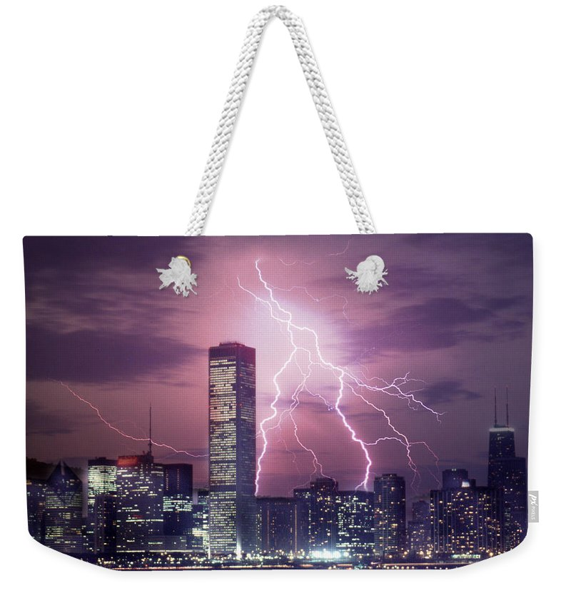 Scenics Weekender Tote Bag featuring the photograph Lightning Striking Chicago Skyline by Lyle Leduc