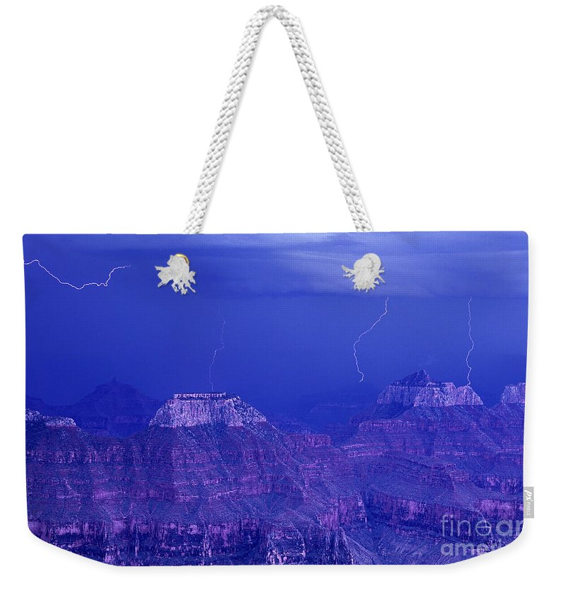 North America Weekender Tote Bag featuring the photograph Lightning Strkes At The North Rim Grand Canyon National Park by Dave Welling