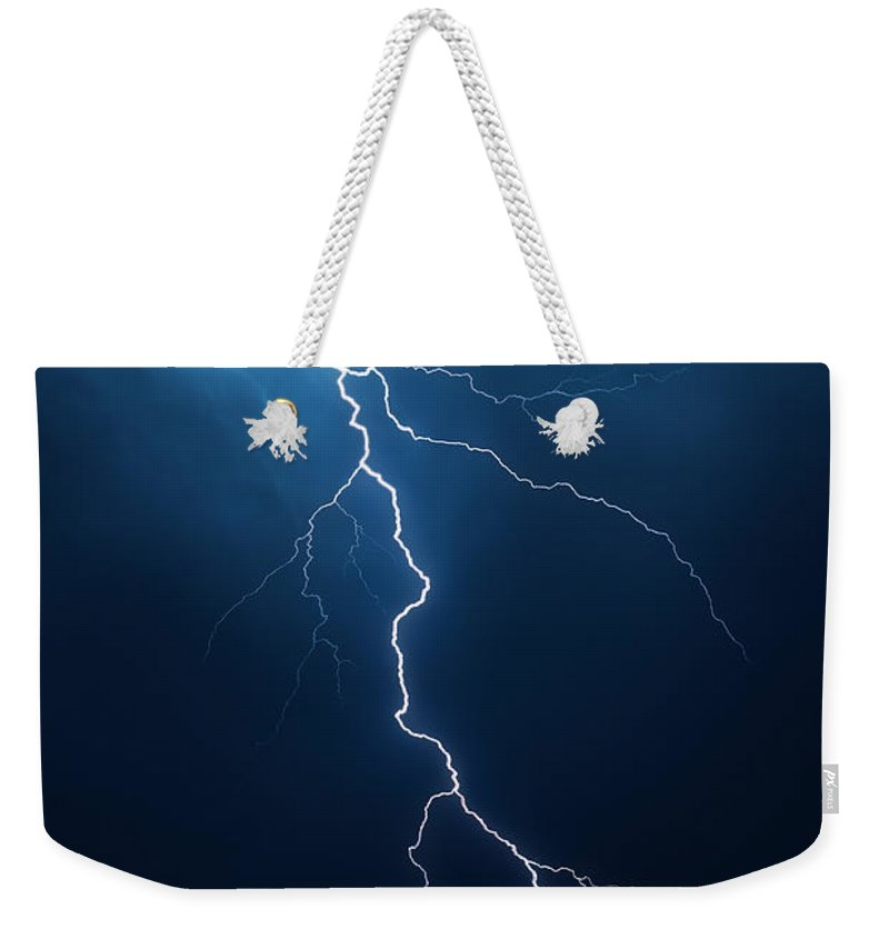 Lightning Weekender Tote Bag featuring the photograph Lightning With Cloudscape by Johan Swanepoel