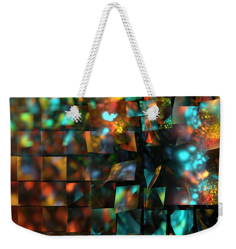 Lights Weekender Tote Bag featuring the digital art Lights And Fractures by Klara Acel
