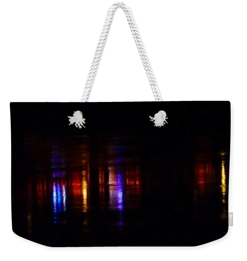 Lights Reflected On River Weekender Tote Bag featuring the photograph Lights On The River Reflection by Susan Garren