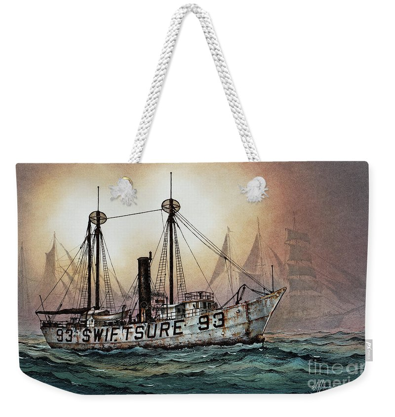 Lighthouse Fine Art Print Weekender Tote Bag featuring the painting Lightship Swiftsure by James Williamson