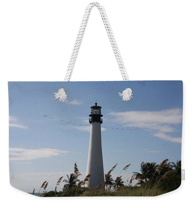 Ligthouse Weekender Tote Bag featuring the photograph Ligthouse - Key Biscayne by Christiane Schulze Art And Photography