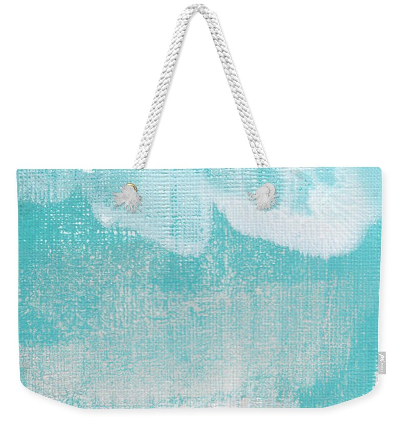 Abstract Weekender Tote Bag featuring the painting Like A Prayer- Abstract Painting by Linda Woods