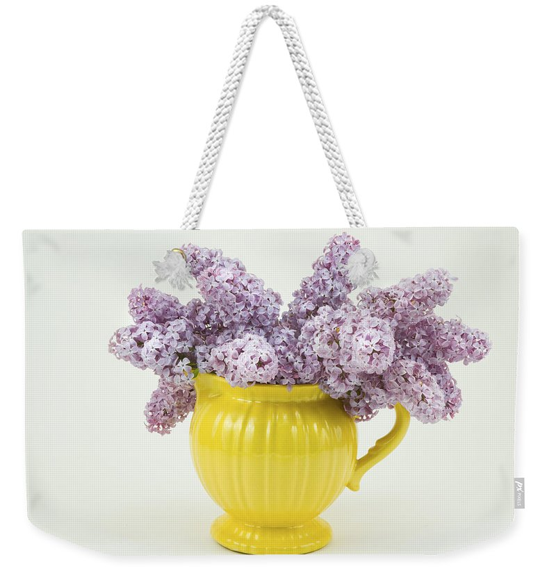Lilac Weekender Tote Bag featuring the photograph Lilac Boquet - Yellow Vase by Keith Webber Jr