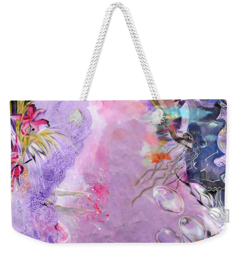 Lilac Goldfish Weekender Tote Bag featuring the painting Lilac Goldfish by Lucia Hoogervorst