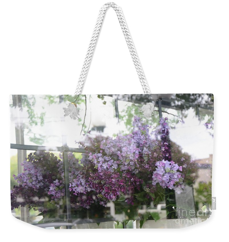 Lavenderforal Prints Weekender Tote Bag featuring the photograph Lilacs Hanging Basket Window Reflection - Dreamy Lilacs Floral Art by Kathy Fornal