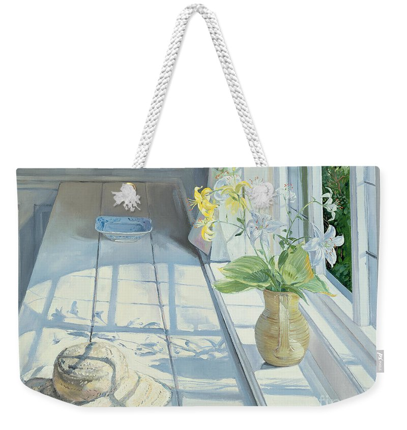 Window Weekender Tote Bag featuring the painting Lilies And A Straw Hat by Timothy Easton