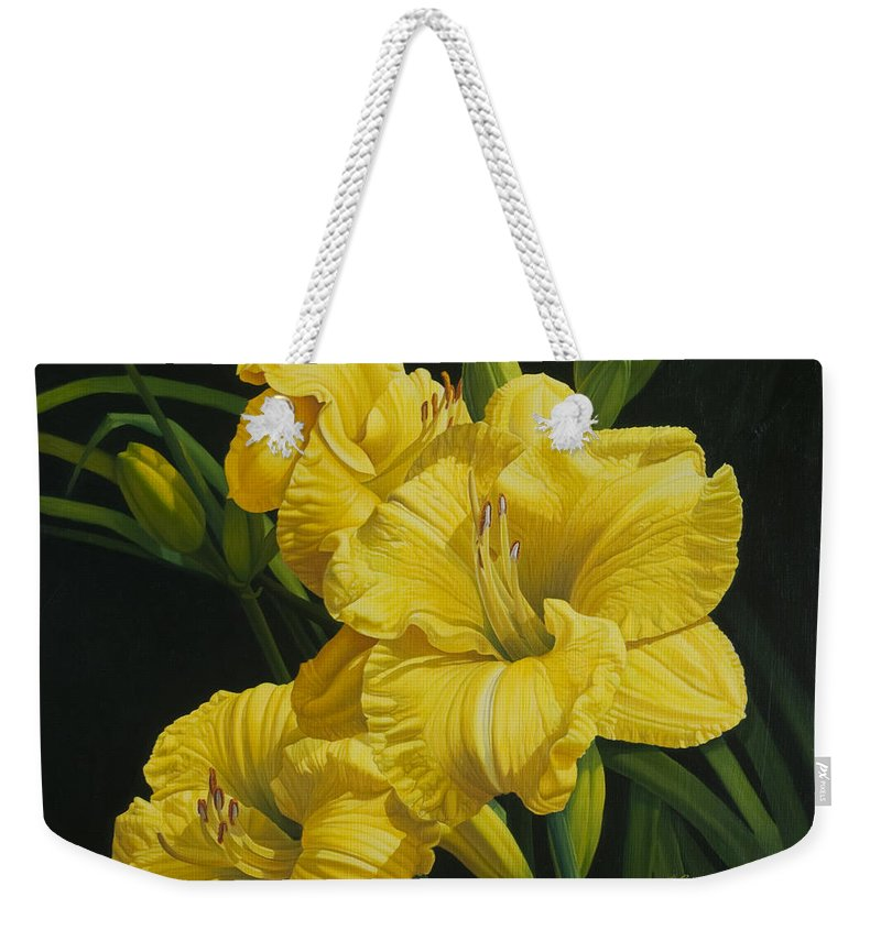 Floral Weekender Tote Bag featuring the painting Lilies for Olivia Rose by Gary Hernandez