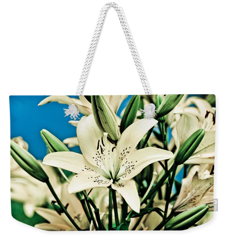 Lily Weekender Tote Bag featuring the pyrography Lilies In White by Shirley Tinkham