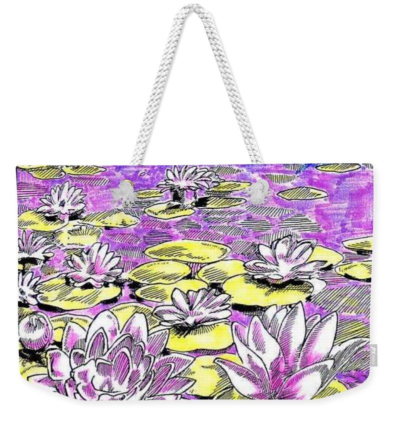 Lilies Of The Lake Weekender Tote Bag featuring the drawing Lilies of the Lake by Seth Weaver