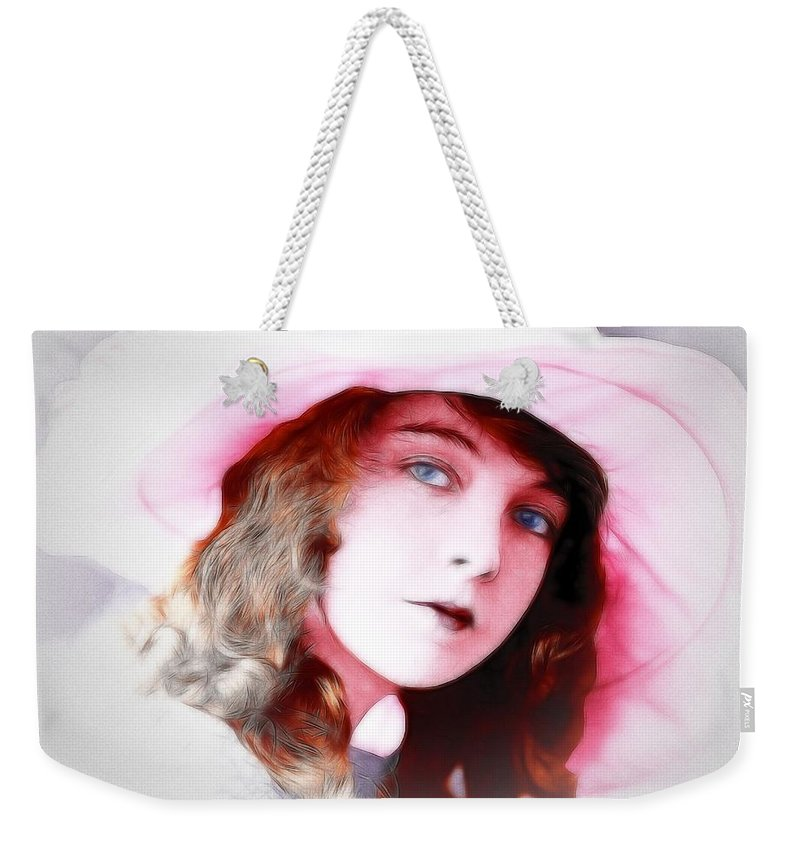 Lillian Gish American Female Woman Actress Portrait Painting Beauty Silent Movie Weekender Tote Bag featuring the painting Lillian Gish by Steve K