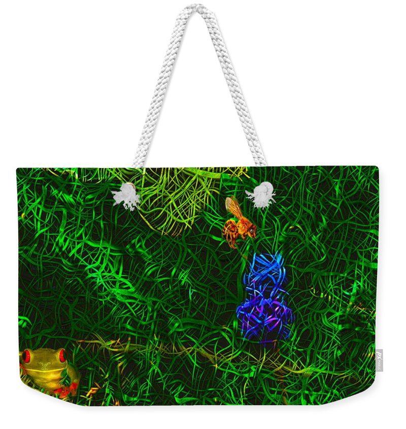 Abstract Drawings Weekender Tote Bag featuring the photograph Lillyput Hardwired by Mayhem Mediums