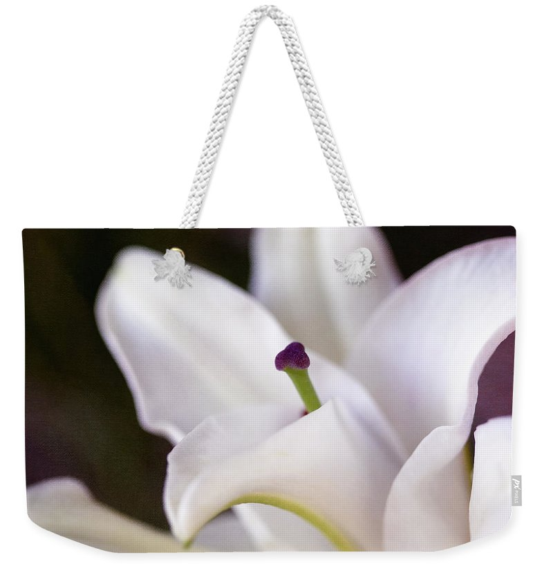Botanicals Weekender Tote Bag featuring the photograph Lily Fair by Linda Dunn