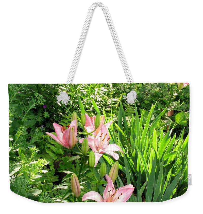 Garden Weekender Tote Bag featuring the photograph Lily Garden by Marilyn Smith