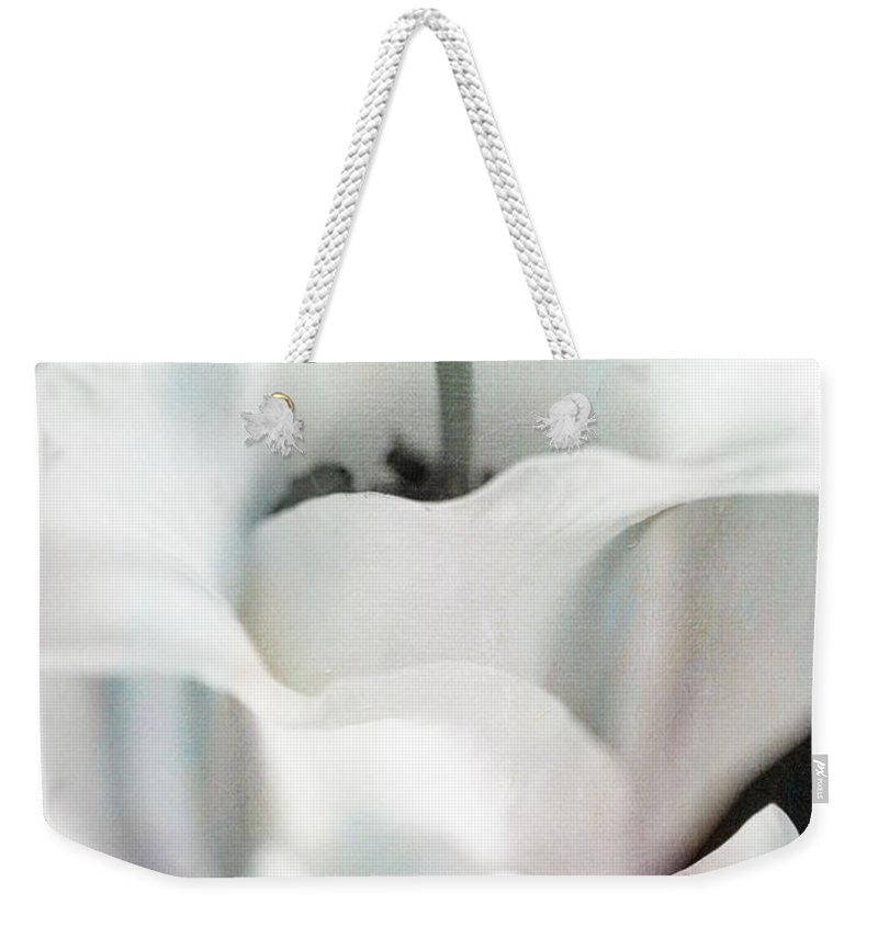 Botanicals Weekender Tote Bag featuring the photograph Lily Kiss Reflection by Linda Dunn