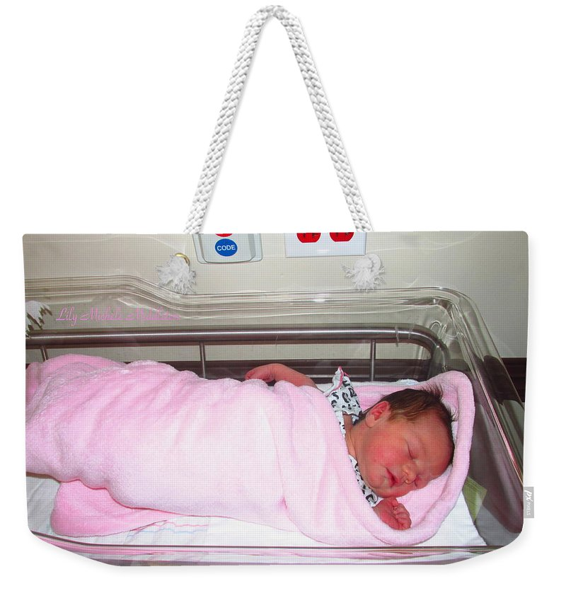 Great-granddaughter Weekender Tote Bag featuring the photograph Lily Michele Middleton by Joyce Dickens