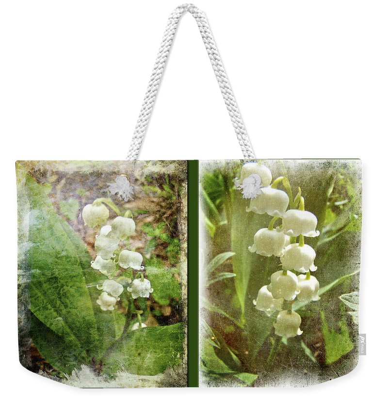 Lily Of The Valley Weekender Tote Bag featuring the photograph Lily Of The Valley - Duet In White by Mother Nature
