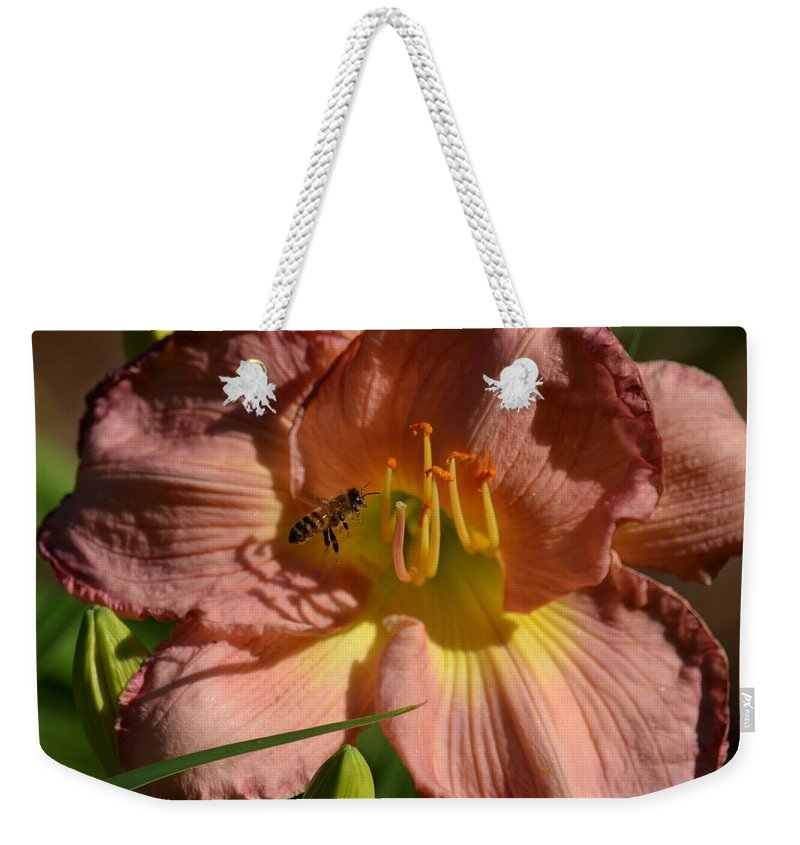Lily Seduction Weekender Tote Bag featuring the photograph Lily Seduction by Maria Urso