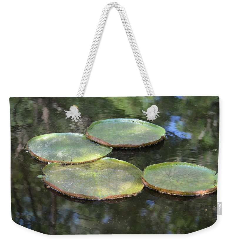 Lilypad Quads Weekender Tote Bag featuring the photograph Lilypad Quads by Maria Urso